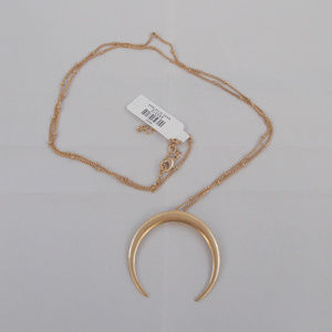 Gold Bull Horn Long Necklace NWT